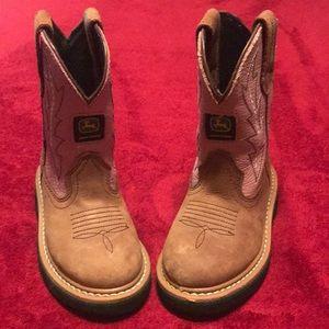 Size 9 John Deere Pink/Brown Boots